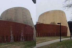 Before and after shot of commercial pressure washing
