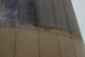Closeup of dirty commercial building surface