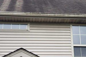 Gutter Cleaning Louisville: Before image of a dirty gutter system that needs maintenance
