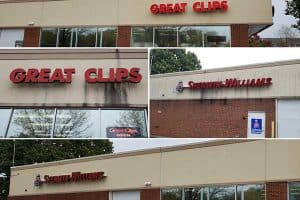 Before and after shots of pressure washing signs